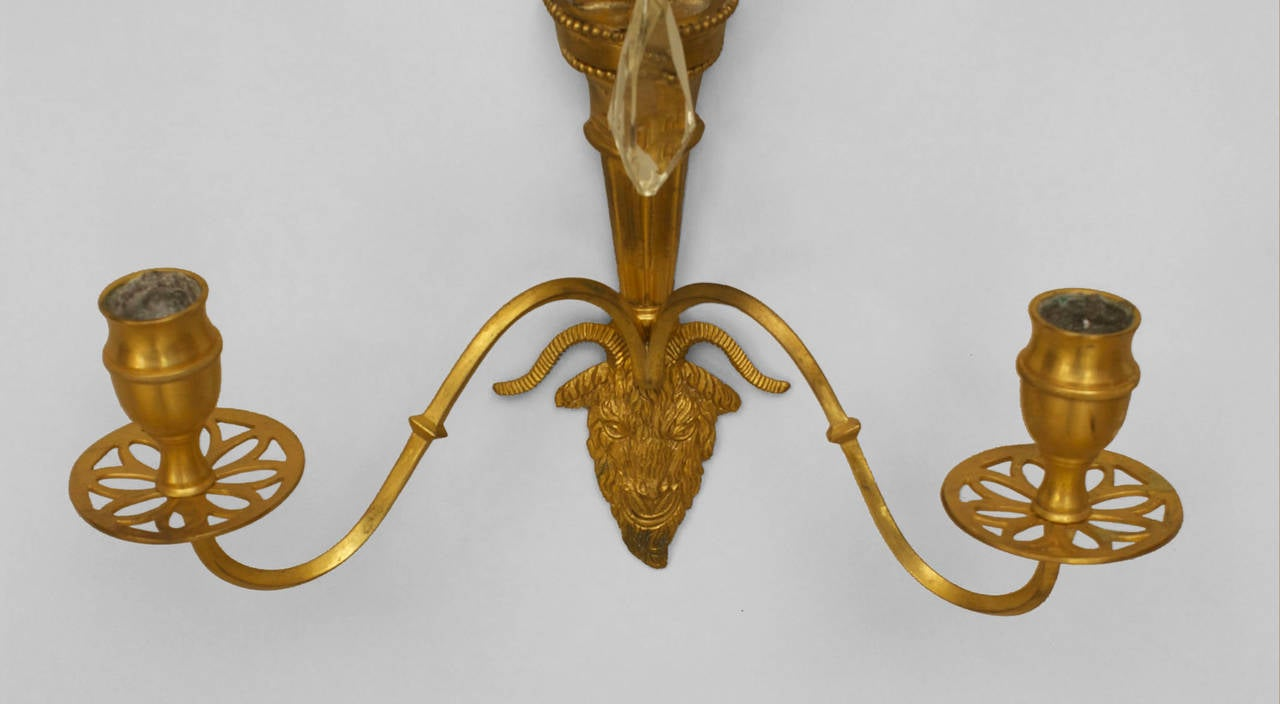 A Lovely Pair of Continental Gilt Bronze and Crystal Wall Sconces For Sale at 1stdibs