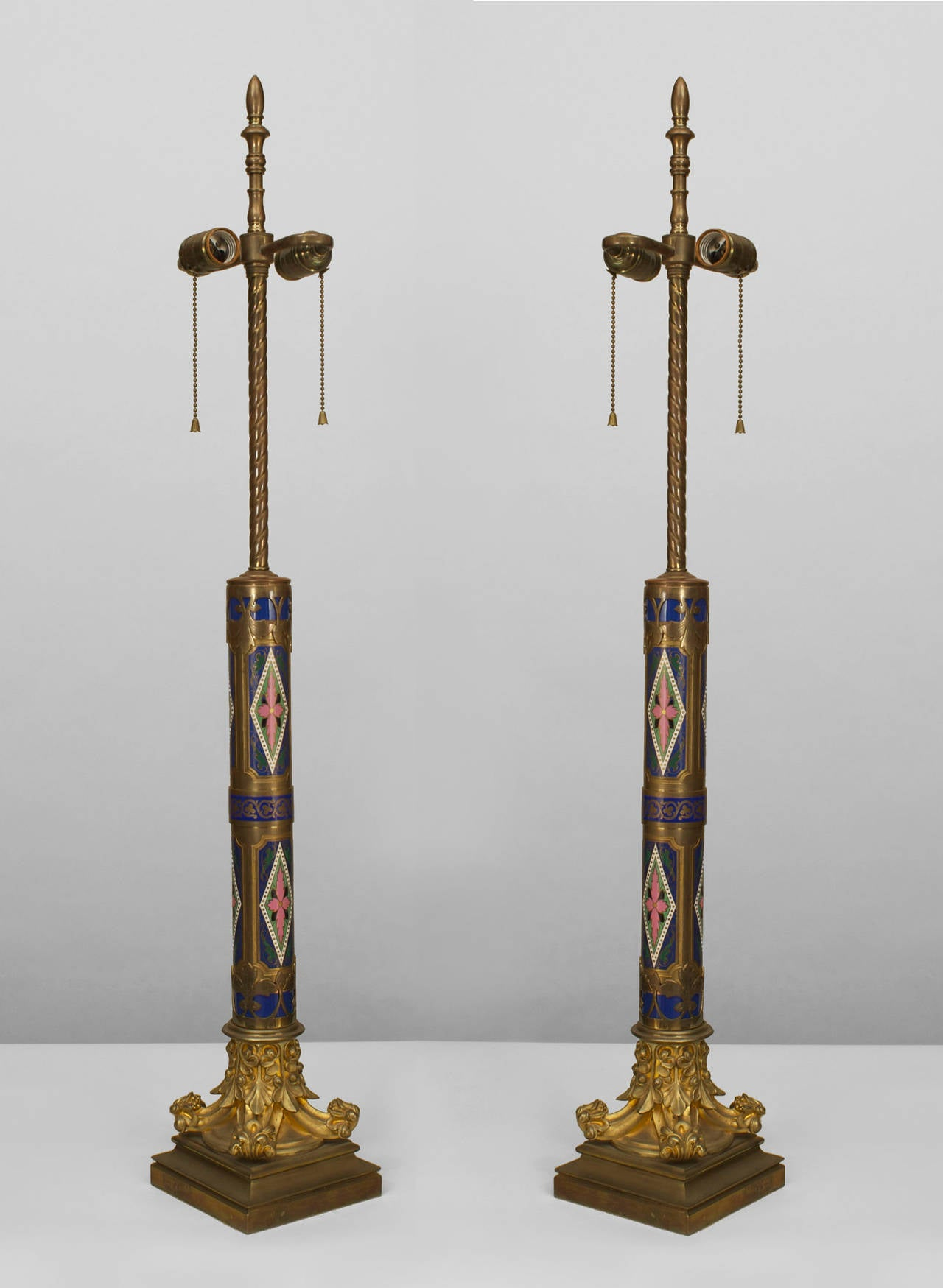 ornate pair of enamel french victorian table lamps for sale at 1stdibs. Black Bedroom Furniture Sets. Home Design Ideas