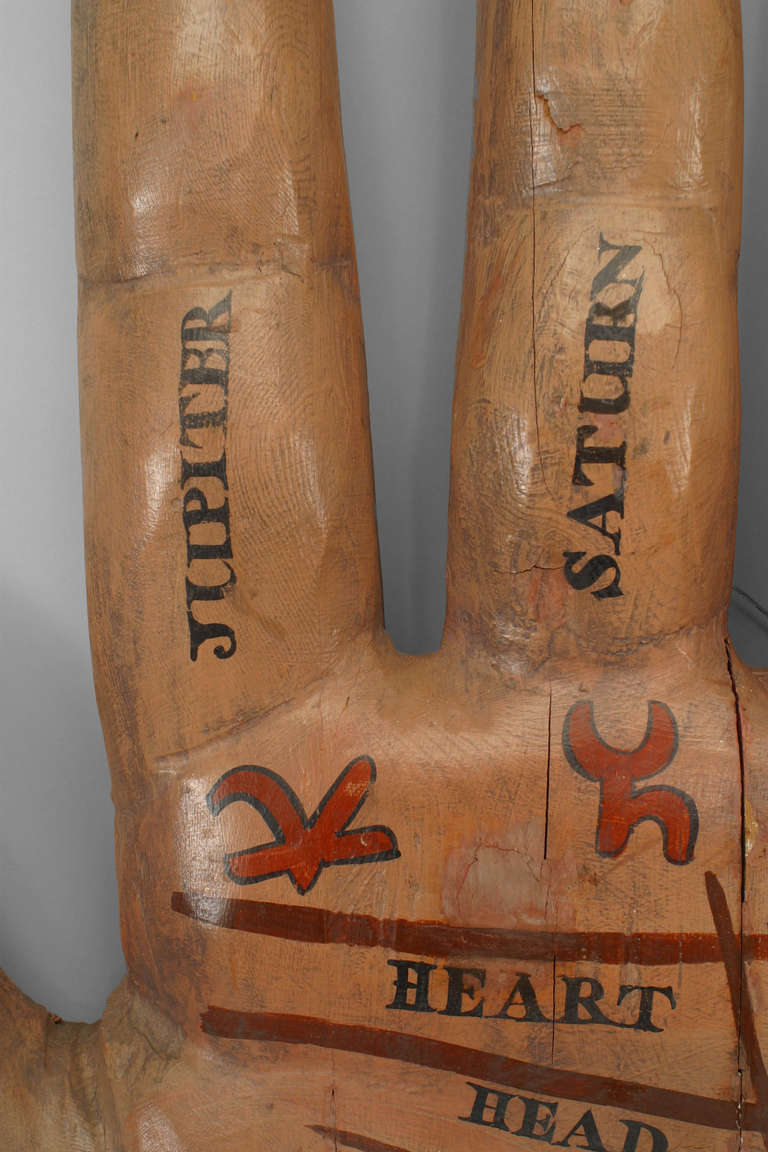 Large 19th Century American Palmist Trade Sign In Good Condition For Sale In New York, NY