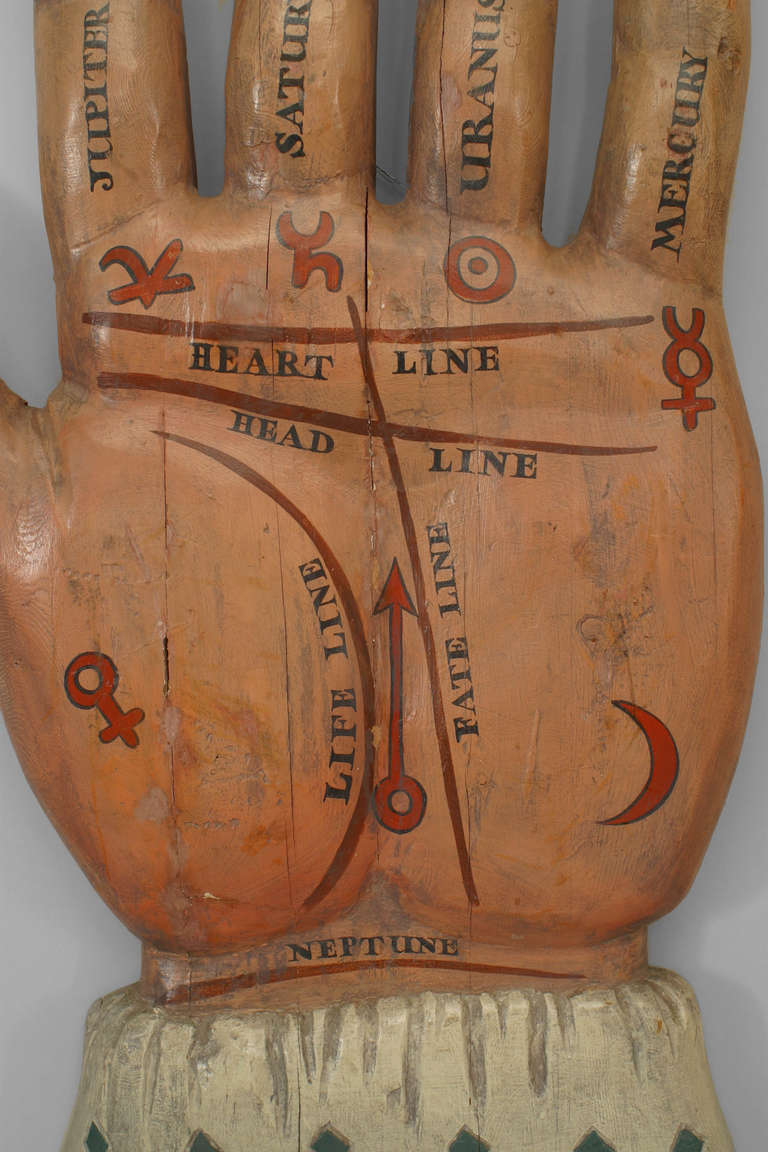 Large 19th Century American Palmist Trade Sign For Sale 1