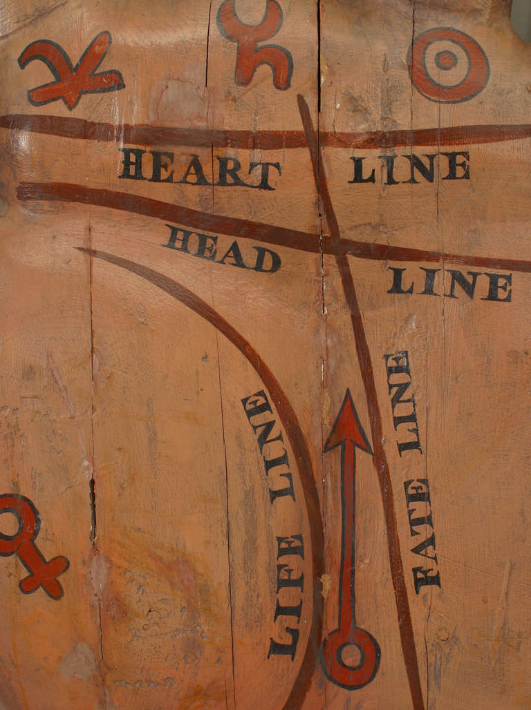 Large 19th Century American Palmist Trade Sign For Sale 2