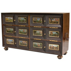 Continental Ebonized & Painted Glass Cabinet