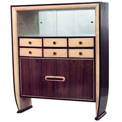1940's Italian Rosewood and Parchment Cabinet Attributed to Borsani