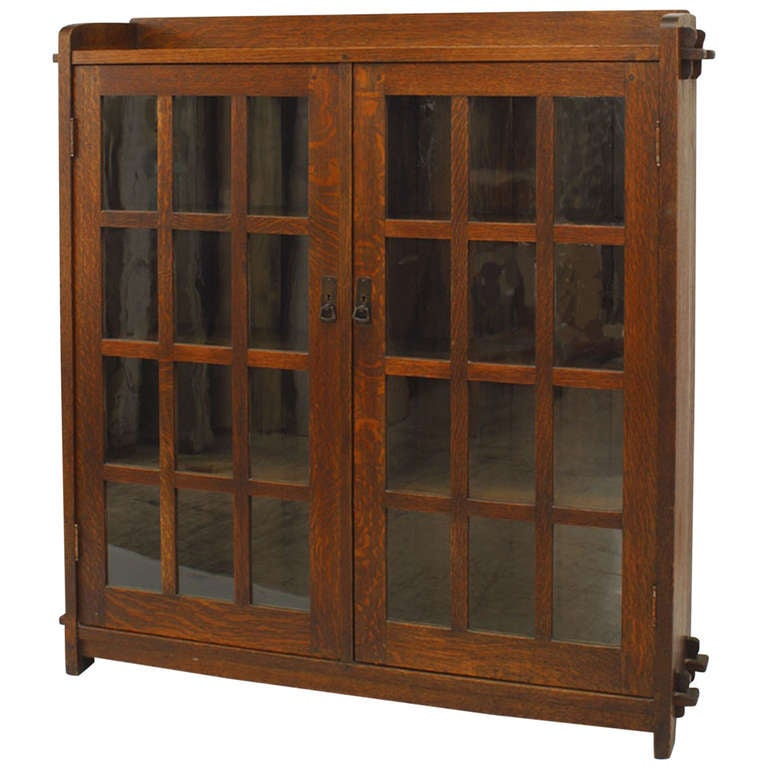 Early 20th c. American Mission Enclosed Oak Bookcase by L. & J.G. Stickley