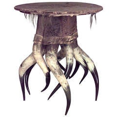 19th c. Rustic Animal Hide and Horn Table