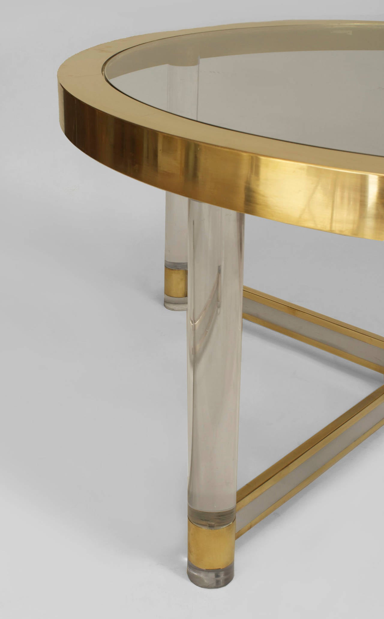 french silver and brass trimmed glass and lucite dining table for