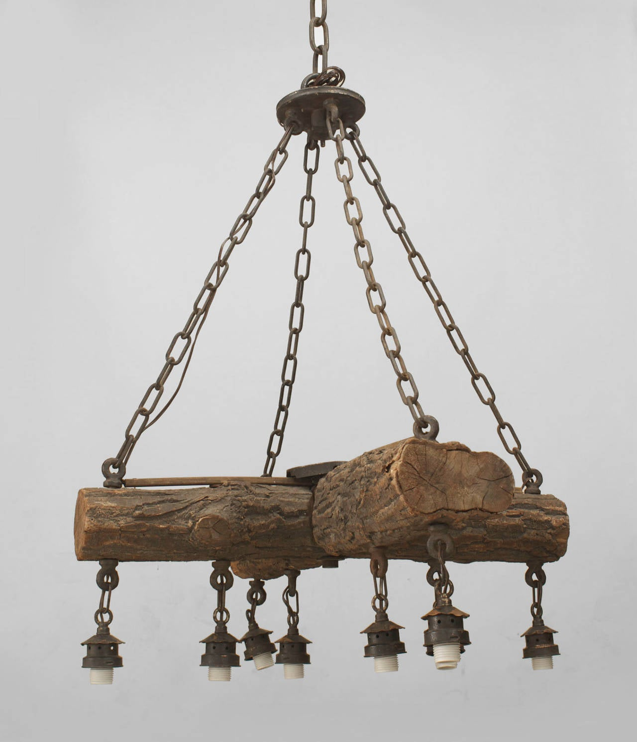 Early 20th C American Rustic Log Chandelier At 1stdibs