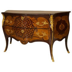 Elegant 18th Century Two-Drawer Commode with Gilt Bronze Trim