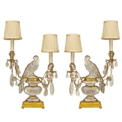 A Lovely Pair of French Crystal Bird Candelabra
