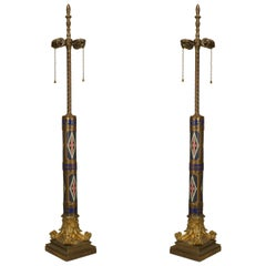 An Ornate Pair of Enamel French Victorian Table Lamps