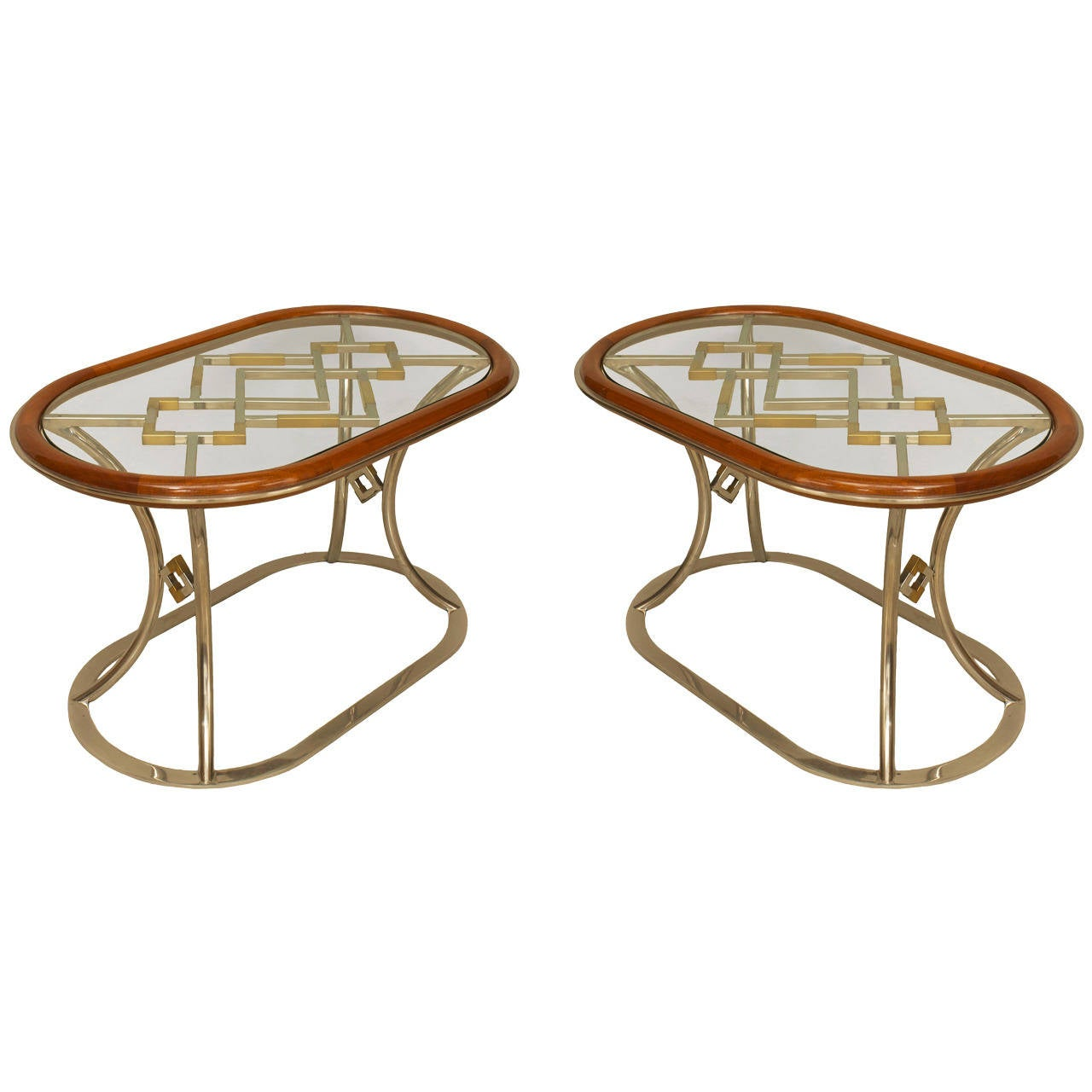 Pair of Fabulous Brass Oval Coffee Tables by Alain Delon for Maison Jansen