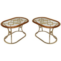 Pair of Fabulous Brass Oval Coffee Tables, by Alain Delon for Maison Jansen