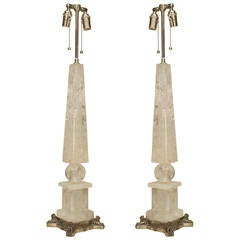 Pair of Fine Rock Crystal and Silvered Bronze Table Lamps