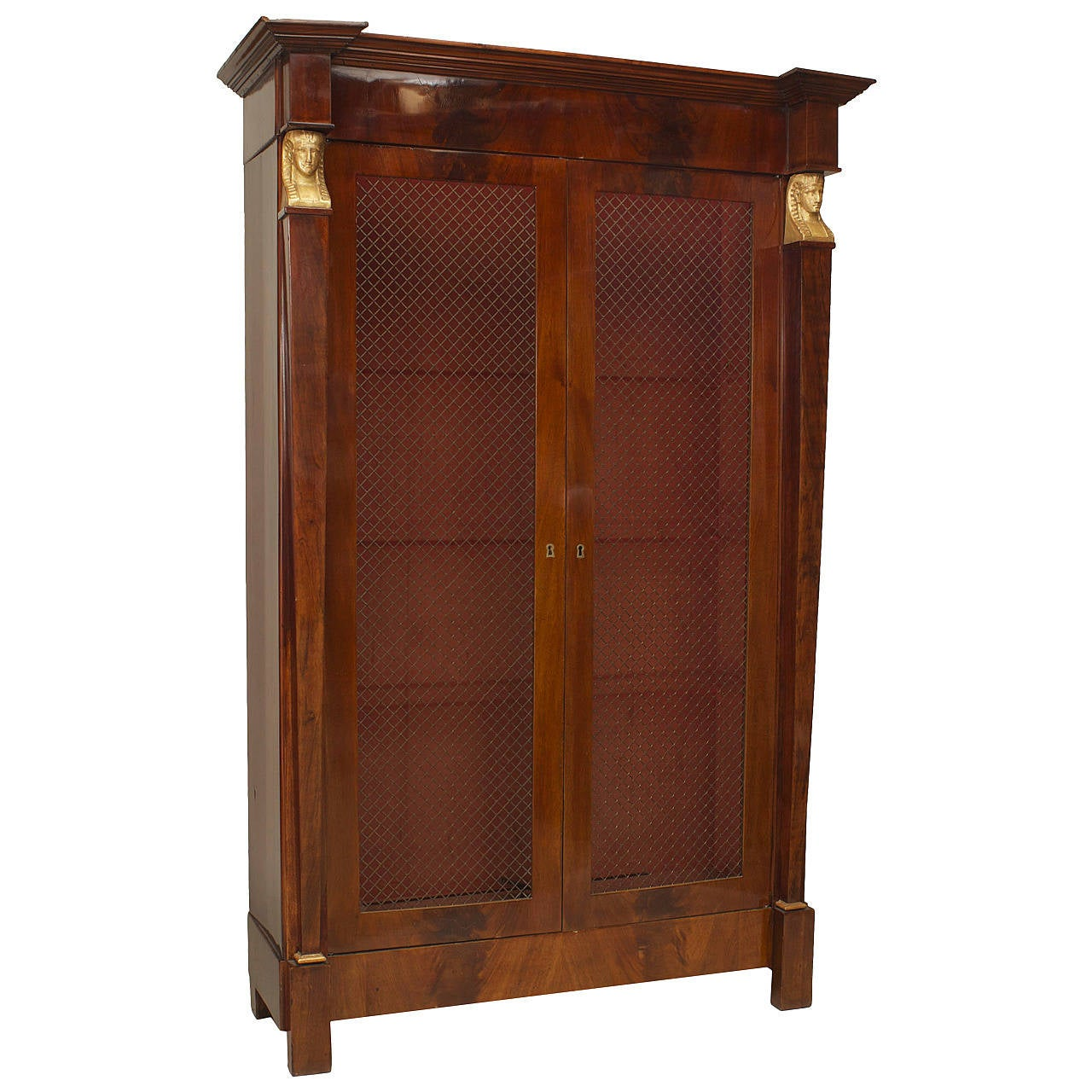 A Beautiful French Empire Bibliotheque Cabinet with Grill Doors ...