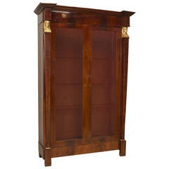 A Beautiful French Empire Bibliotheque Cabinet with Grill Doors