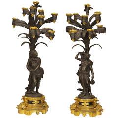 Pair of Ornate French Napoleon III Gilt and Bronze Ten-Light Candelabra
