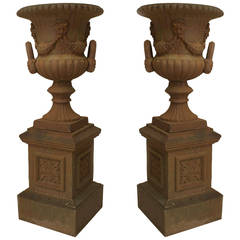 Pair of Large English Victorian Iron Urns