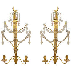 A Lovely Pair of Continental Gilt Bronze and Crystal Wall Sconces