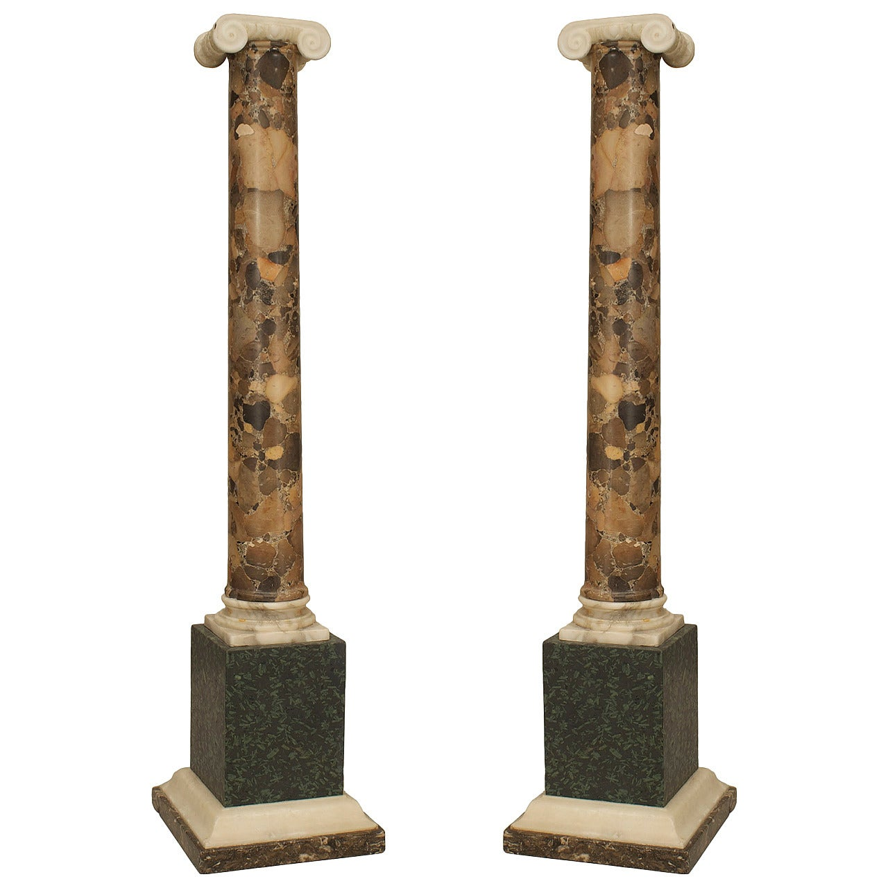 Pair of Fine Italian Neo-classic breche marble columns
