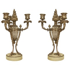 Pair of Ornate 19th c. French Silvered Bronze and Cut Glass Candelabras