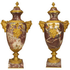 An Ornate Pair French Neoclassical Rosso Levanto Marble Urns with Gilt Bronze
