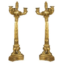 A Fine Pair of French Restoration Gilt Bronze Candelabras