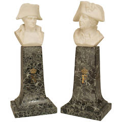 Pair of 19th c. Continental Alabaster Busts of Napoleon & Frederick the Great