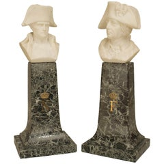 Pair of Alabaster Fredrick the Great and Napoleon Busts