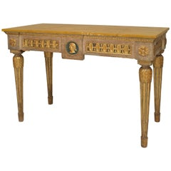 A Finely Painted 18th Century Italian Neoclassic Parcel Gilt Console Table
