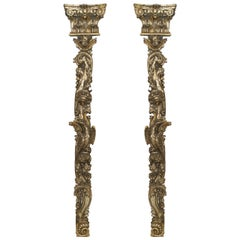An Exquisite Pair of Carved 18th Century Silver Gilt Pilasters