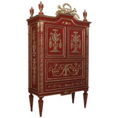 An Ornate Italian Neo-classic Scarlet Painted and Parcel Silver Gilt Armoire