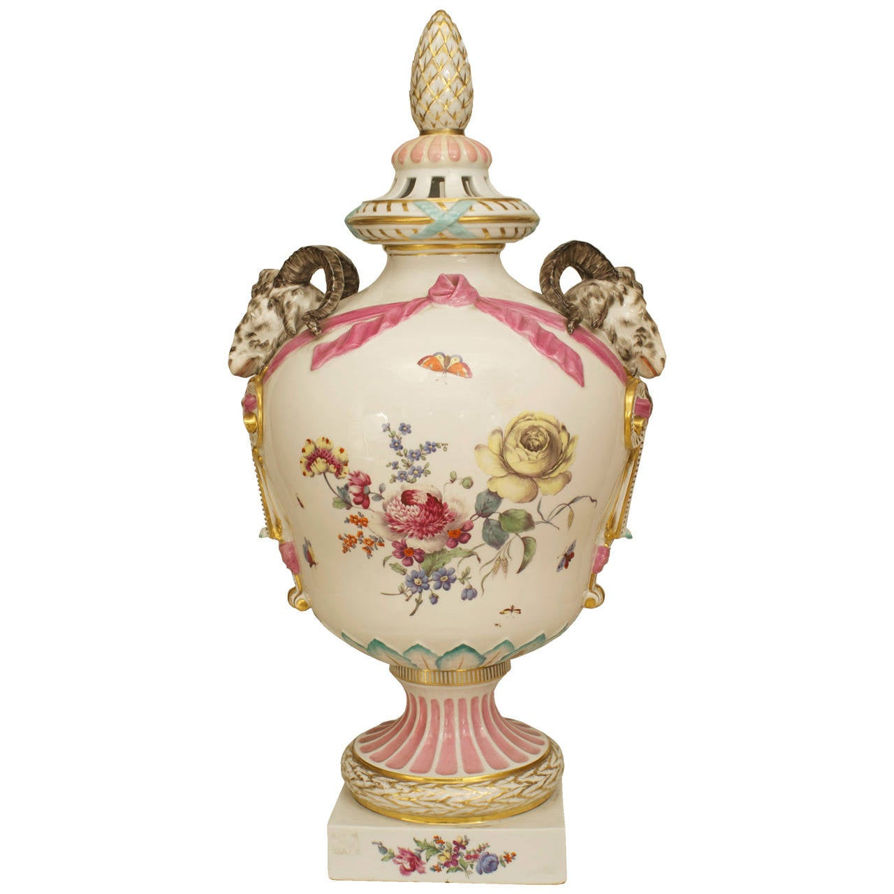A Fine 18th Century Continental German Porcelain Decorated Urn