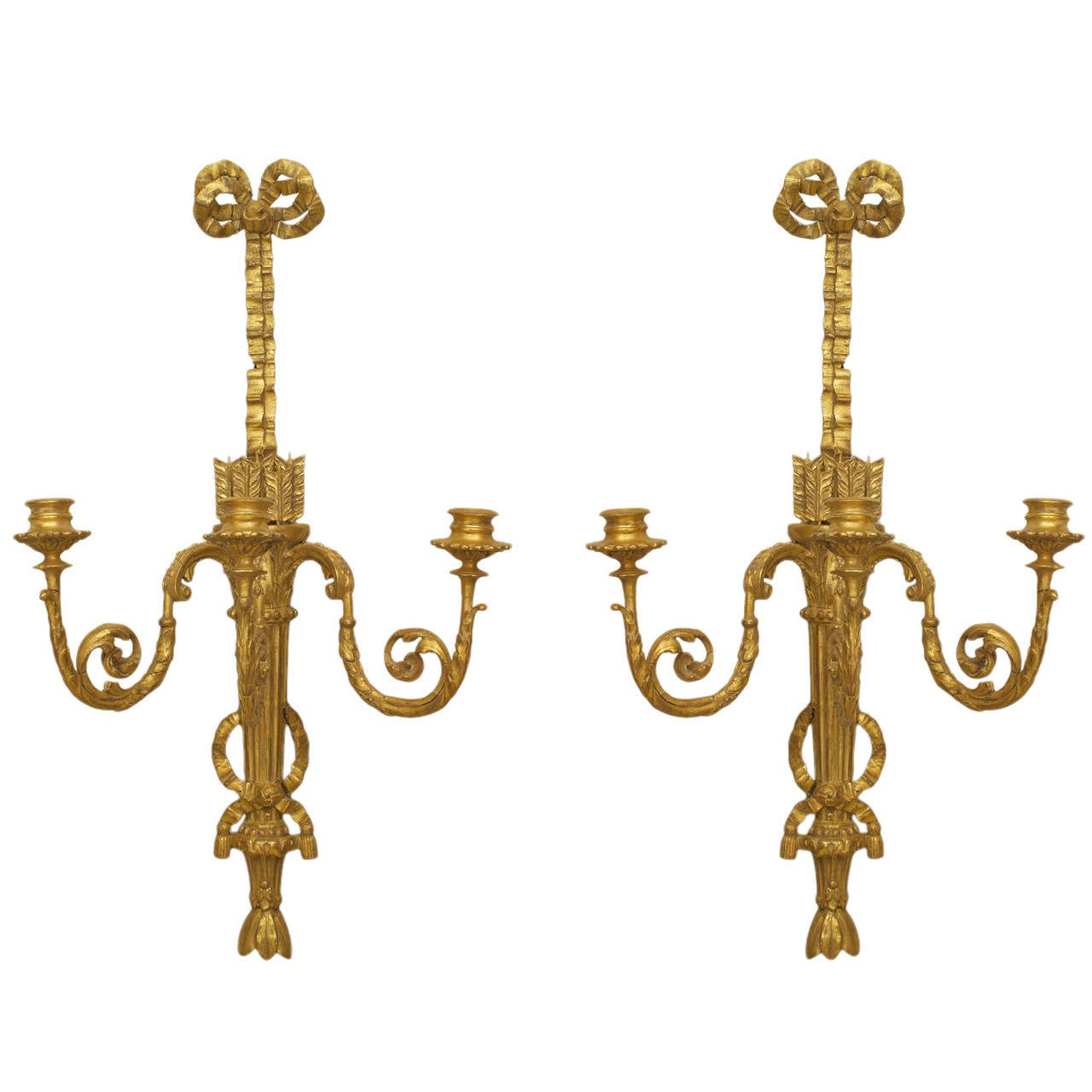 A Beautifully Carved Pair of Louis XVI Gilt Wood Wall Sconces