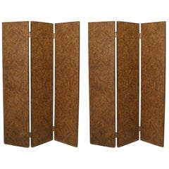 Pair of American Art Moderne Faux Painted 3 Fold screens