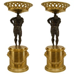 Pair of French Neoclassic Bronze Atlas Centerpieces