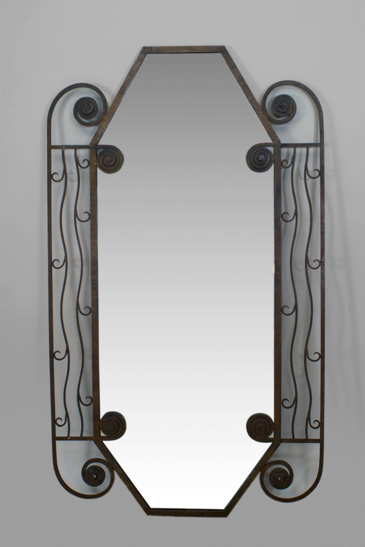 1930s french art deco iron wall mirror for sale at 1stdibs 1930s french art deco iron wall mirror 2 amipublicfo Image collections