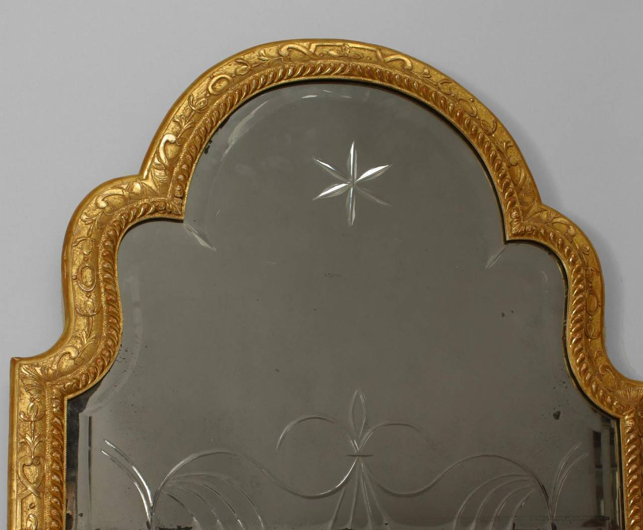Beveled Early 18th c. English Queen Anne Gilt Wall Mirror, c. 1705 For Sale