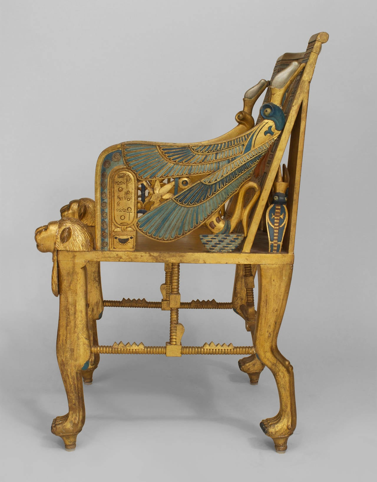 Late 19th C Egyptian Revival Polychrome Carved Throne