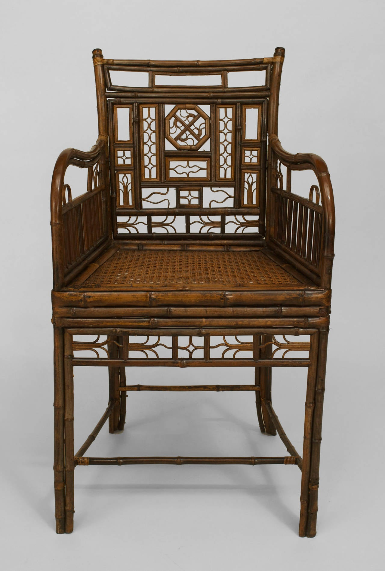 19th c English Regency Brighton Design Bamboo Armchair For Sale