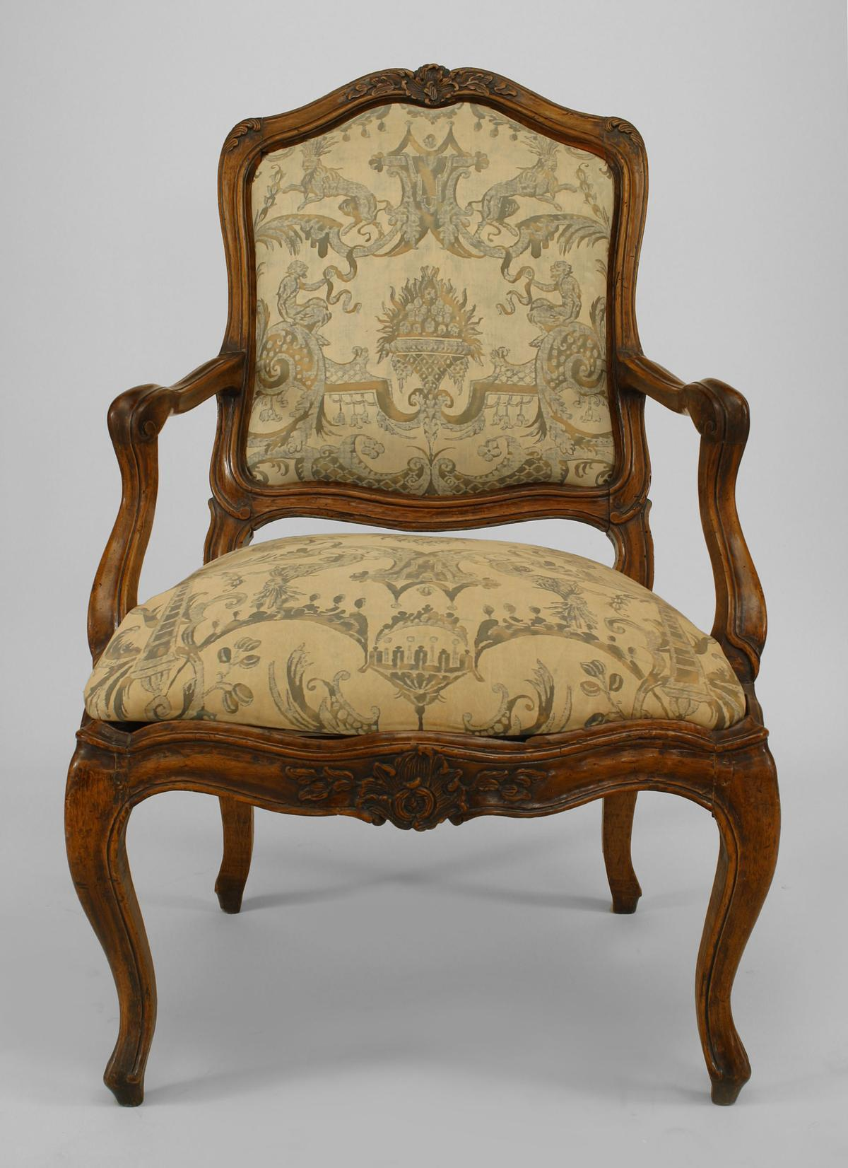 Set Of 10 French Louis XV Style Side Chairs With Fortuny Upholstery In Good  Condition For