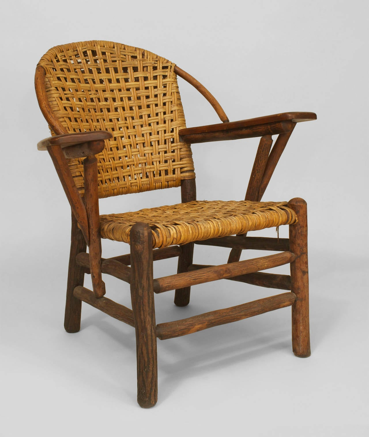 Pair Of 20th C American Old Hickory Co Woven Armchairs