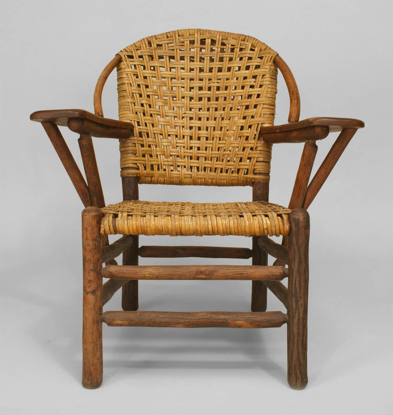 Pair of 20th c. American Old Hickory Co. Woven Armchairs For Sale at ...