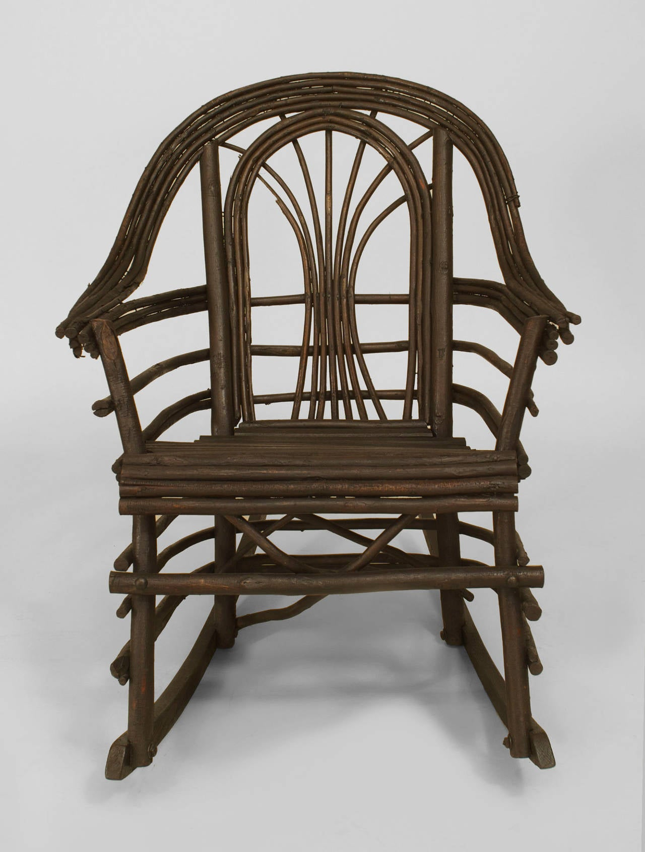 20th c American Adirondack Style Willow Twig Rocking Chair For
