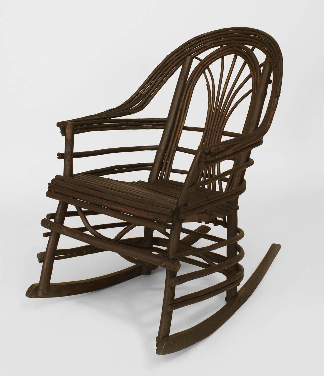 Delightful American Adirondack Style Willow Twig Rocking Chair 2