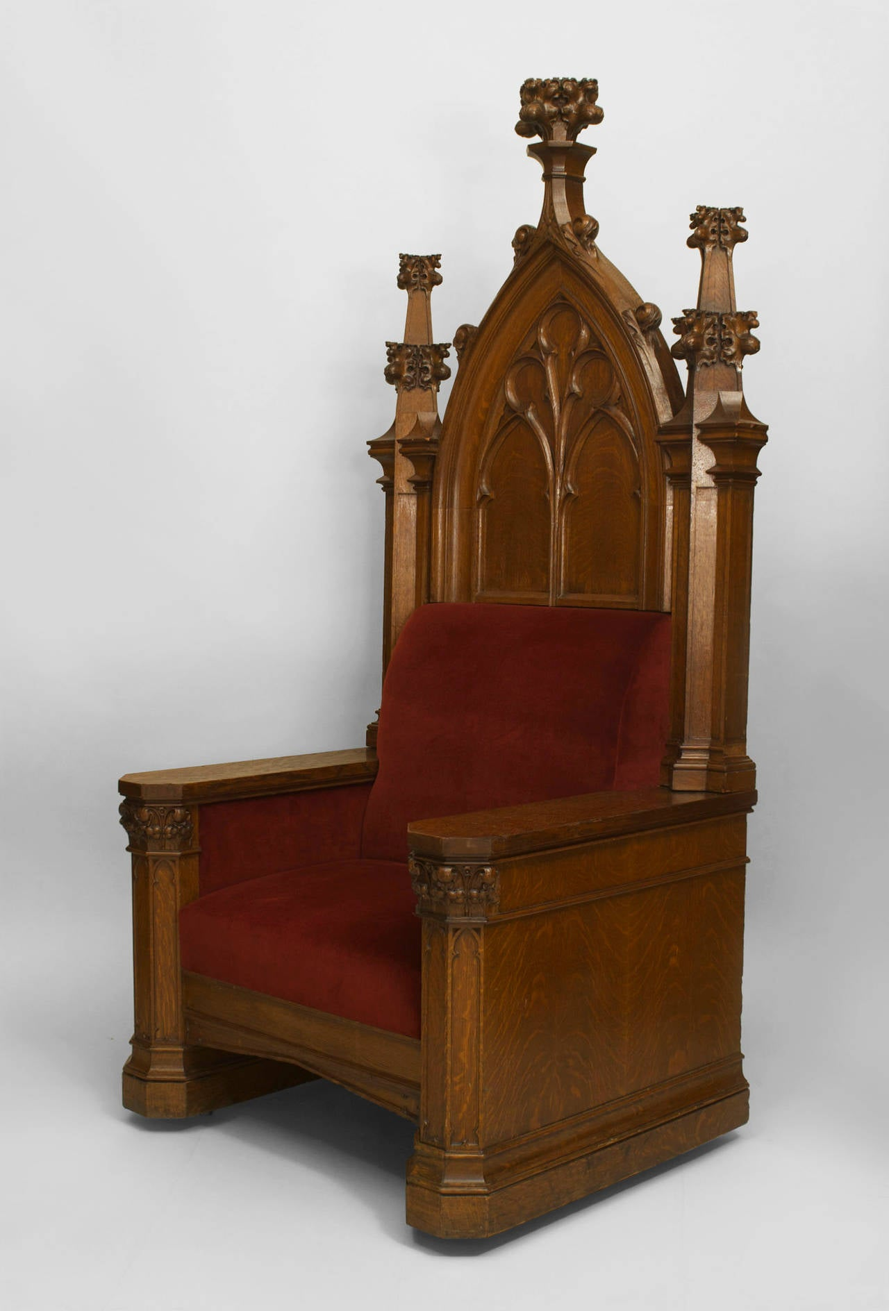 Oversized Turn of the Century English Gothic Revival Throne For