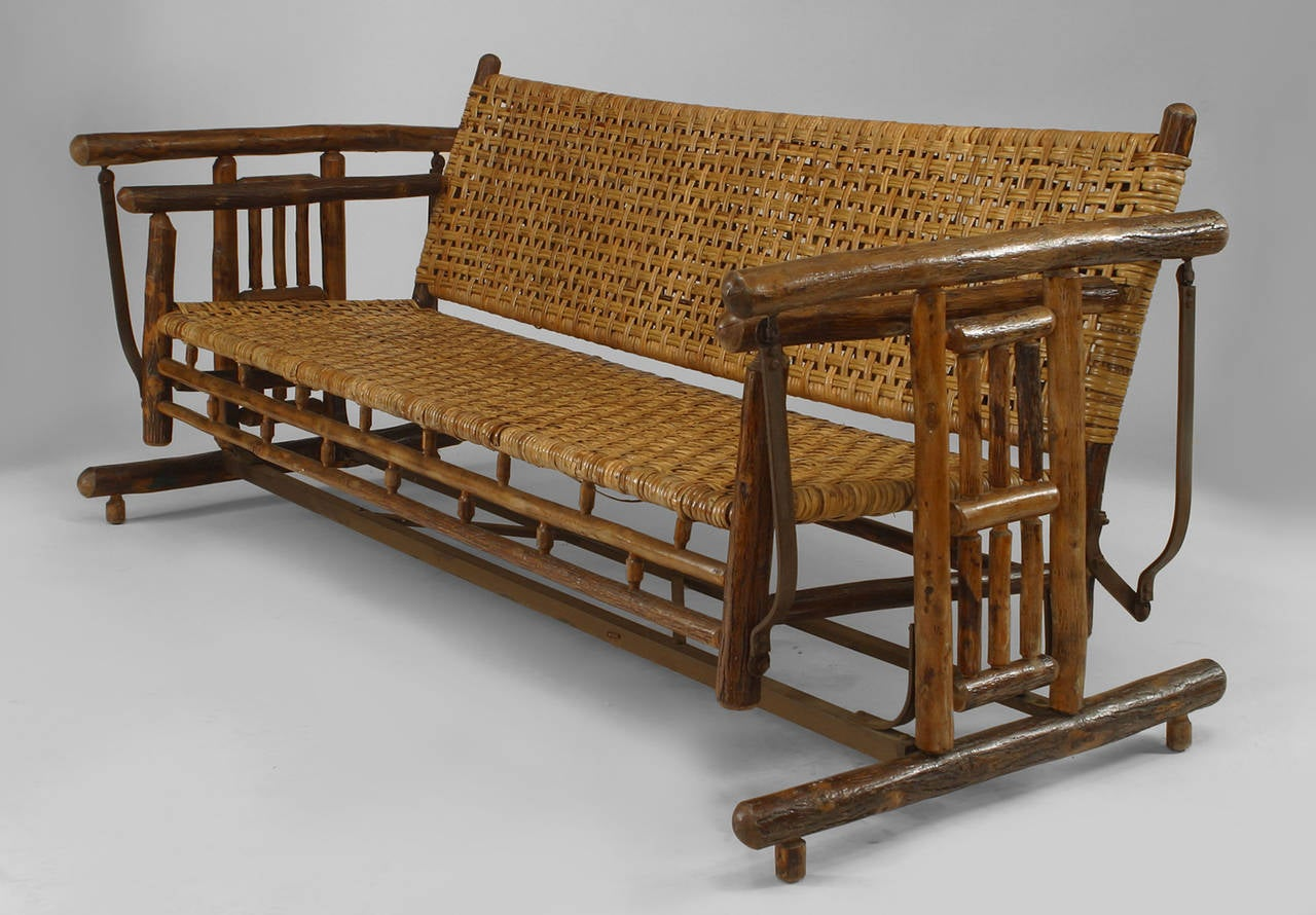 large 1930s american old hickory co settee porch glider 2 - Porch Gliders
