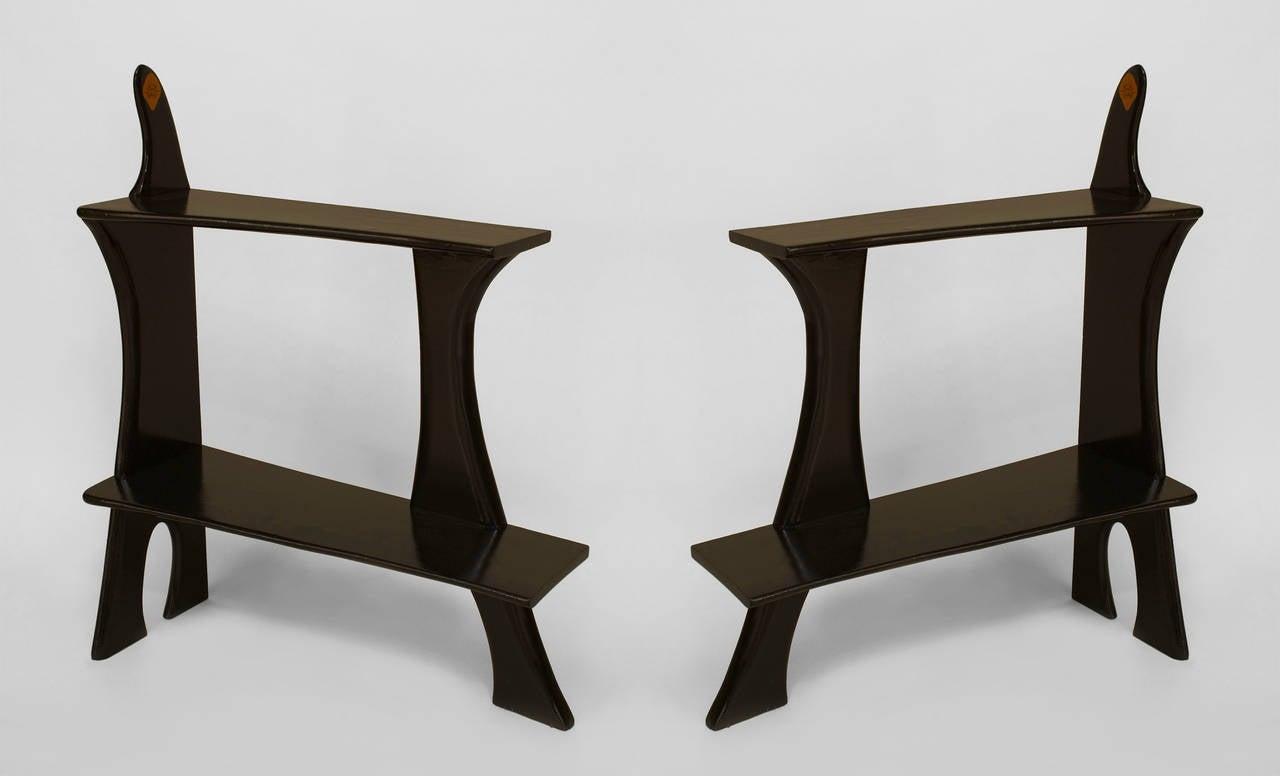 pair of 1950 39 s american ebonized bookshelf end table bases