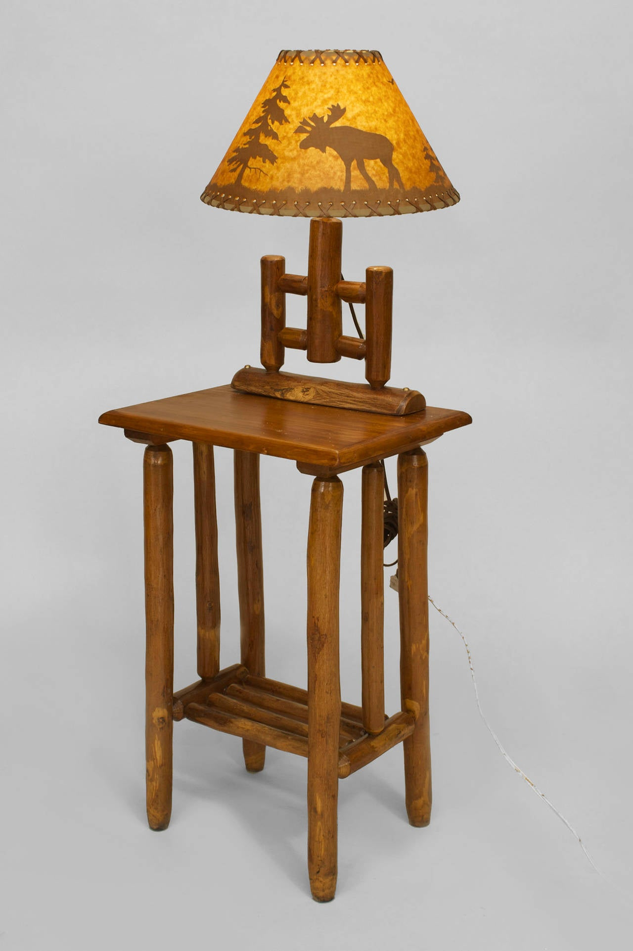 Small 20th C American Rustic End Table With Mounted Lamp