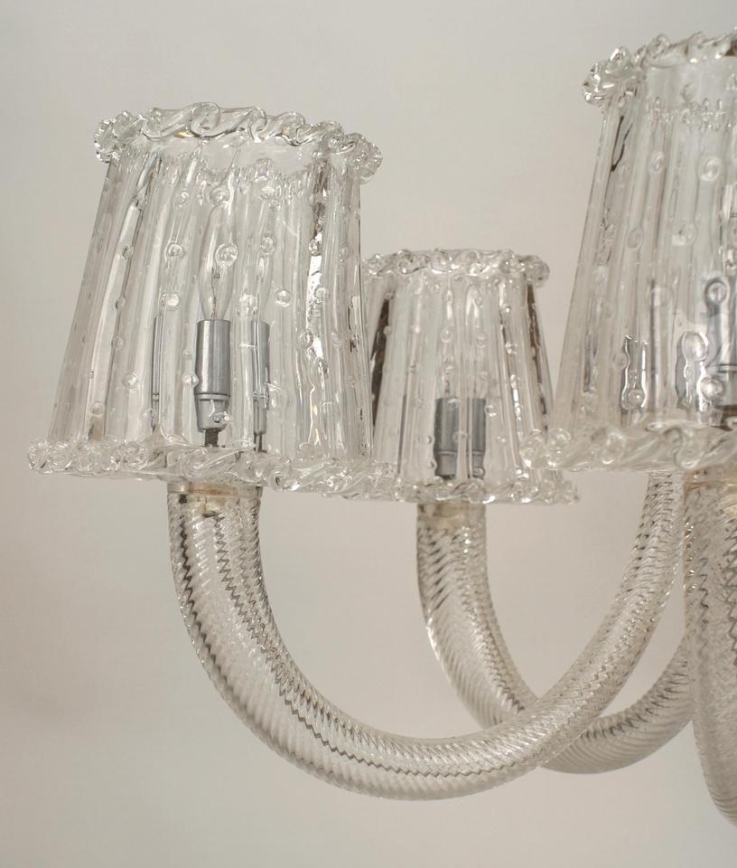 Mid-Century Modern 1940's Italian Murano Glass & Chrome Chandelier Attr. to Barovier e Toso For Sale