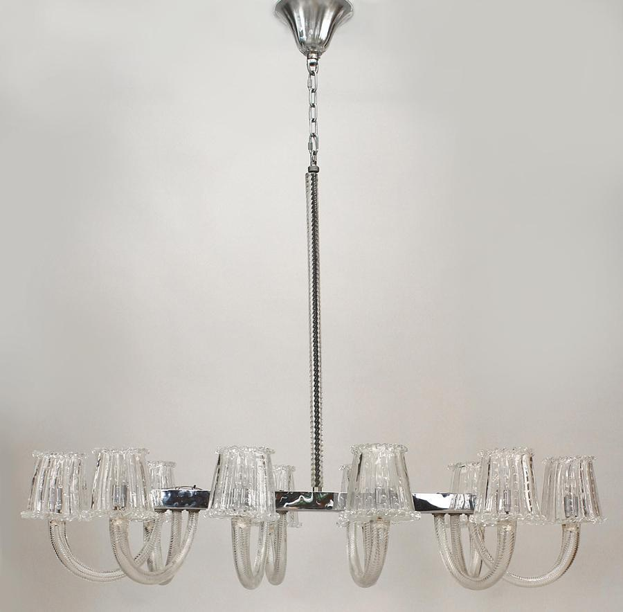 1940's Italian Murano clear swirl design glass 10 arm chandelier emanating from a rectangular chrome frame holding clear bubble glass shades (att: Barovier e Toso).